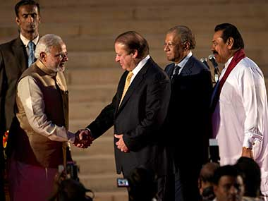 Prime Minister Narendra Modi with his Pakistani counterpart Nawaz Sharif. AP