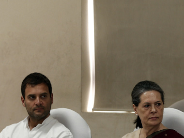 Sonia Gandhi and Rahul Gandhi at the CWC meeting today. Reuters