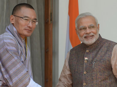 File image of Prime Minister Narendra Modi with Bhutan PM Tshering Tobgay. AFP.