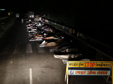 "Farmers sleep on the national highway during the ""Jan Satyagraha"" march at Morena district of the central Indian state of Madhya Pradesh in this 2012 file photo. Reuters"