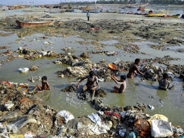 File image of waste accumulation in the Ganga. AFP