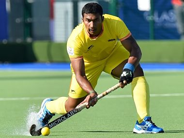 India's Raghunath Vokkaliga Ramachandra in action during a men's field hockey match between India and Wales. India won the match 3-1. AFP