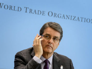 World Trade Organisation director-general Brazil's Roberto Azevedo gestures during a press conference. AFP