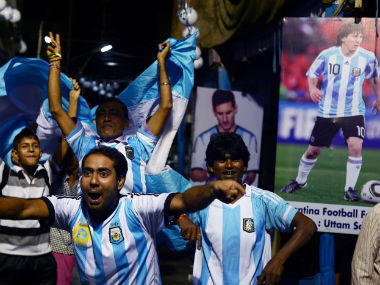 Argentina fans from India celebrate during a match. Image for representational purposes only. AFP