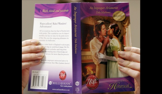 A Mills and Boon book cover is seen.