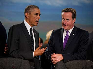 US President Barack Obama and UK Prime Minister David Cameron. AP