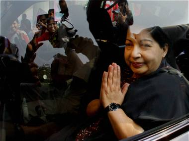 Former Tamil Nadu chief minister and AIADMK chief J Jayalalithaa.