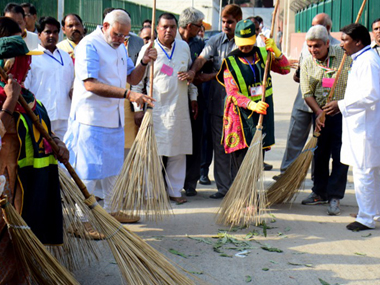 Prime Minister Narendra Modi launched his Swacch Bharat scheme in 2014. AFP file photo