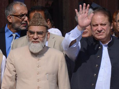 Shahi Imam Ahmed Bukhari with Nawaz Sharif, when the latter visited India. AFP.