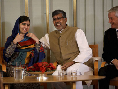 Kailash Satyarthi with Malala Yousafzai in Oslo. PTI