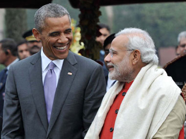 Prime Minister Narendra Modi with the Chief Guest of Republic Day, US President Barack Obama during 'At Home` reception, on 66th Republic Day celebrations, at Rashtrapati Bhavan, in New Delhi on 26 January 2015. Image courtesy PIB