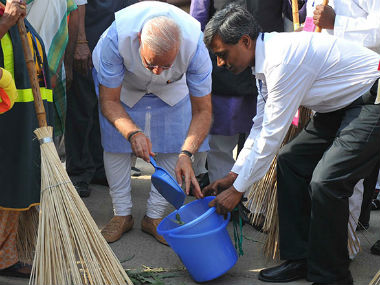 PM Narendra Modi launched the Swachh Bharat Abhiyan on 2 October, 2014. PIB