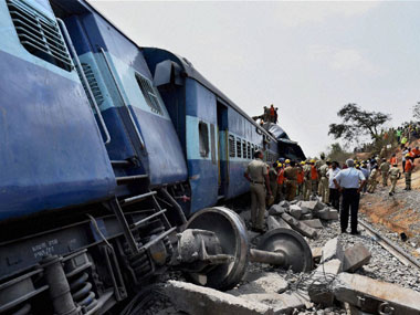 The scene of the train accident. PTI