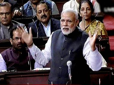 Prime Minister Narendra Modi in Rajya Sabha.