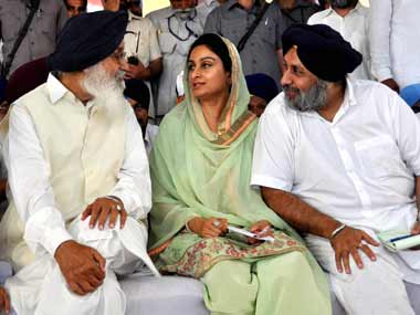 Parkash, Harsimrat Kaur and Sukhbir Singh Badal. PTI