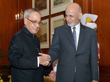 President Pranab Mukherjee with Afghanistan President Mohammad Ashraf Ghani in New Delhi on Tuesday. PTI