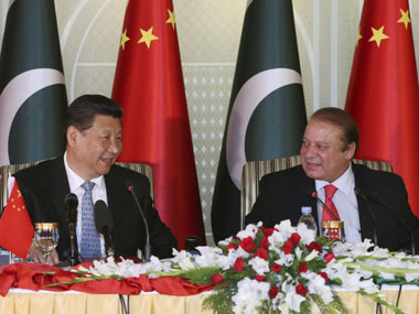 Pakistan prime minister Nawaz Sharif with Chinese president Xi Jinping. AP