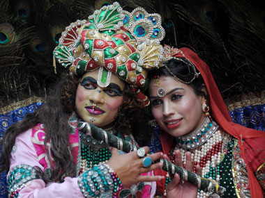 Actors dressed up as Lord Krishna and Radha. Image used for representational purposes only. AFP.