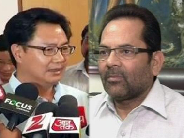 Minister of State for Home Affairs Kiren Rijiju and Minority Affairs Minister Mukhtar Abbas Naqvi. Image courtesy: IBNLive