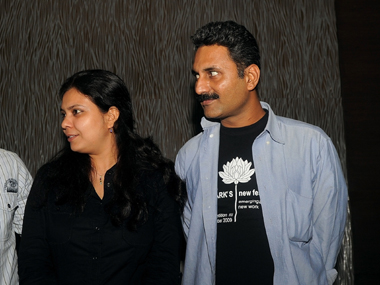 Mahmood Farooqui with wife Anusha Rizvi. AFP