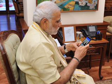 PM Modi launching the app. Image Courtesy: Twitter @narendramodi