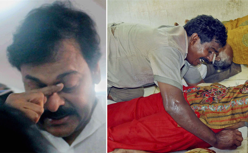 (L) Actor Chiranjeevi breaks in tears while  interacting with the press in Hyderabad. (R)  An unidentified man grieves near dead bodies of victims of a stampede during a bathing festival on the bank of the Godavari River in Rajahmundry, Andhra Pradesh on Tuesday. PTI