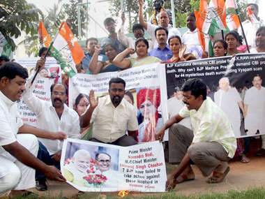 Protests against BJP leaders in connection with Vyapam scam. PTI.