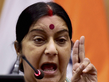 External Affairs Minister Sushma Swaraj at the press conference in New Delhi on Saturday. PTI