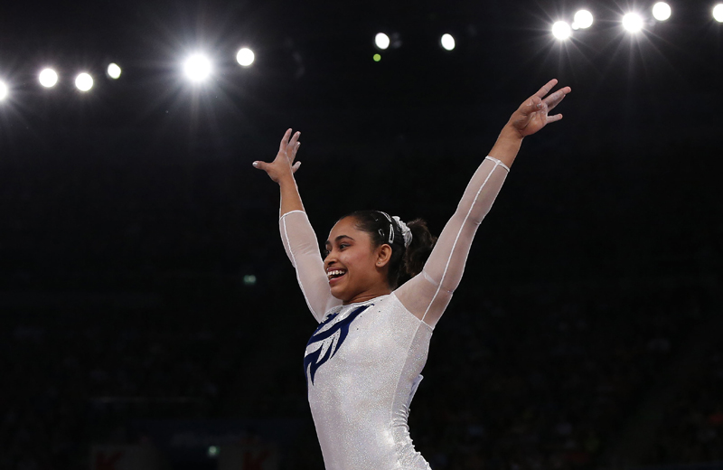 Dipa Karmakar reacts after a successful vault during the women's gymnastics vault apparatus final at the 2014 Commonwealth Games in Glasgow, Scotland. REUTERS.