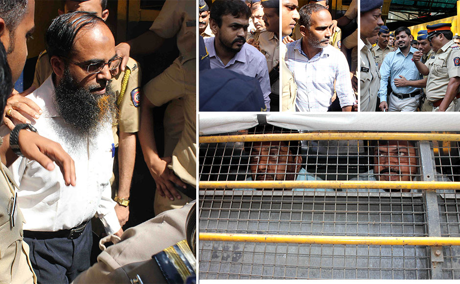 (L) Mohammed Ali Shaikh, Unani medicine seller, and other accused (R) guilty in the 7/11 Mumbai train blasts being taken to the court from Arthur Road jail in Mumbai, India, on 30 September, 2015. The session court announced the sentence of the 12 people convicted in the 2006 serial train blast. SOLARIS IMAGES