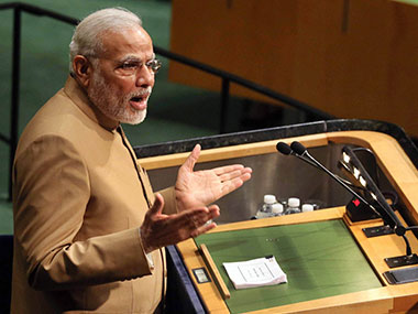 PM Modi during his UN speech. PTI