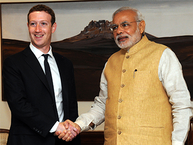 Narendra Modi and Mark Zuckerberg. AFP