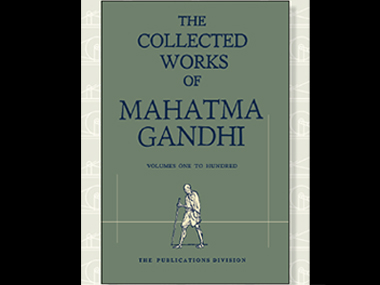 Brochure for the e-version of  of Collected Works of Mahatma Gandhi. Image Credit: twitter @MIB_India