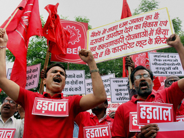 Bank employees taking out rally in Bhopal during Trade Union workers' nationwide strike on Wednesday. PTI