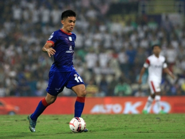 Sunil Chhteri in action for Mumbai City FC. ISL