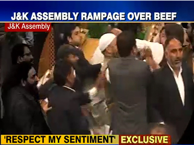 Screengrab from the video of an MLA being thrashed in the J&K Assembly. IBNLive
