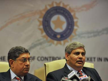 File photo of Shashank Manohar and N Srinivasan. AFP