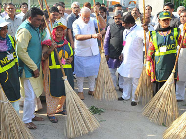 A file photo of PM Modi initiating the Swacch Bharat initiative. PTI image