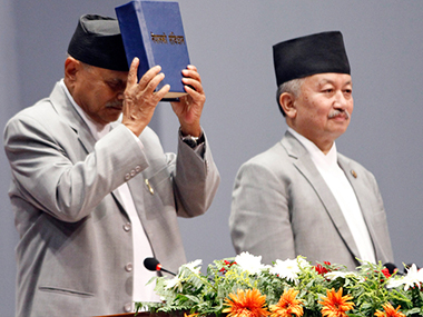 File image of the unveiling of Nepal's new Constitution.  AP