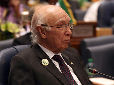 File image of Sartaj Aziz. AFP
