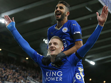 File image of Jamie Vardy and Riyad Mahrez. AFP