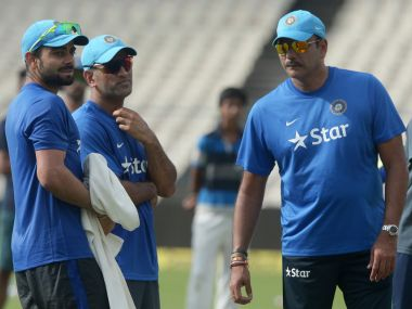 Ravi Shastri with MS Dhoni and Virat Kohli,. AFP
