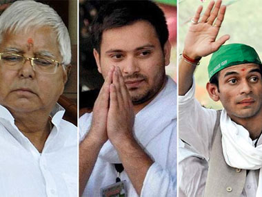 Lalu Prasad Yadav with his sons in a file photo.