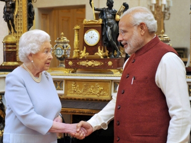 Prime Minister Narendra Modi in a meeting with Queen Elizabeth at Backingham Palace in London on Friday. PTI