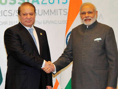 A file image for Indian PM Narendra Modi with his Pakistani counterpart Nawaz Sharif. PTI