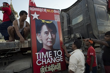 Aung San Suu Kyi's Poster set-up. AFP