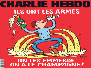 """Screw them, we have the champagne."" Charlie Hebdo's cover after the Paris attacks"