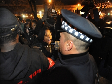 File image of Police and protesters in Chicago. AP