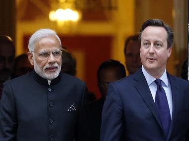 Narendra Modi and David Cameron in London. AP