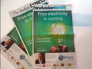 Newspaper advertisements for the Billions in Change film. Firstpost